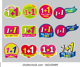 Sticker or label for marketing campaign, Buy 1 Get 1 Free