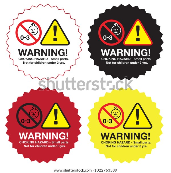 Sticker Label Warning Choking Hazard Small Stock Vector