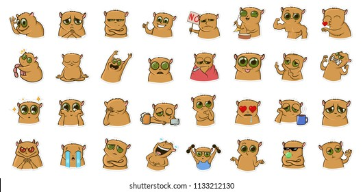 Sticker for messenger with funny hamster character. Emoticons, emoji for chats. Colorful cartoon sticker set. Line vector illustration. Isolated on white background.