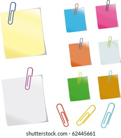 Sticker notes and  clips. Photo-realistic vector.