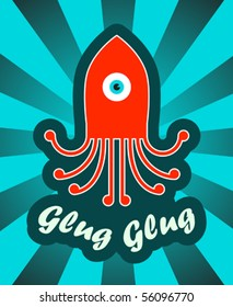 sticker with octopus