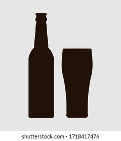 Sticker on bottle and glass of beer. Glass and bottle icon. Vector illustration.