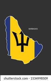 Sticker outline map of the Barbados, flag Barbados.
