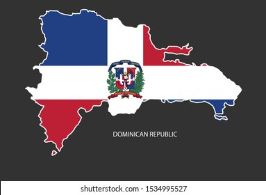 Sticker outline map of the Dominican Republic, flag Dominican Republic.