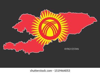 Sticker outline map of the Kyrgyzstan, flag Kyrgyzstan.