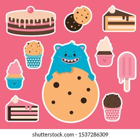 sticker pack with a Cookie Monster and sweets on a pink background