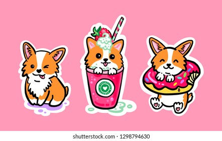Sticker pack corgi and sweets. Corgi puppy sitting in a glass with a mint-strawberry cocktail. Cute corgi puppy with donut. Cool stickers.