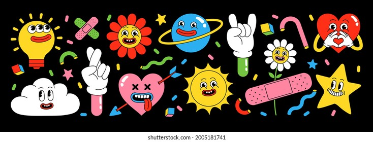 Sticker pack of funny cartoon characters. Vector illustration of comic heart, sun, planet, berry, abstract faces etc. Big set of comic elements in trendy retro cartoon style.