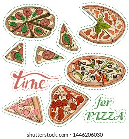 Sticker pack with whole and sliced  pizza. Hand drawn ink  and colored sketch. Perfect for leaflets, cards, posters, prints, menu, booklets, labels. Vector illustration.