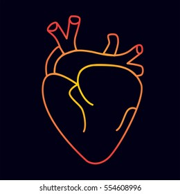 Sticker patch real flat icon cartoon gold neon bright hand drawing of heart suitable for medical brands. Black and white pattern, contour linear sketch tattoo. Vector illustration.