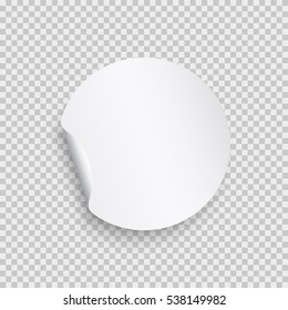 Sticker with peel off corner isolated on transparent background. Vector white round paper banner or circle label with flip edge template.
