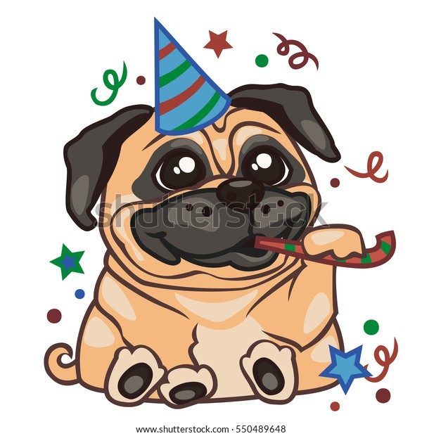 Vector De Stock Libre De Regalías Sobre Sticker Pug Dog