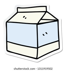 sticker of a quirky hand drawn cartoon quirky hand drawn cartoon of milk
