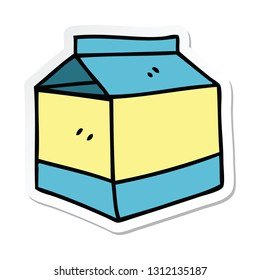 sticker of a quirky hand drawn cartoon quirky hand drawn carton of juice