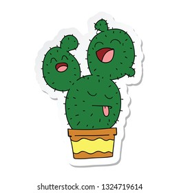 sticker of a quirky hand drawn cartoon cactus