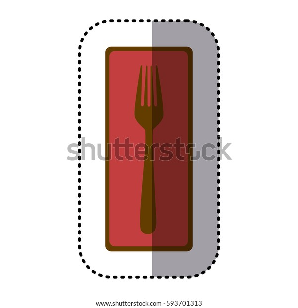 sticker rectangle banner frame with silhouette fork cutlery icon vector illustration