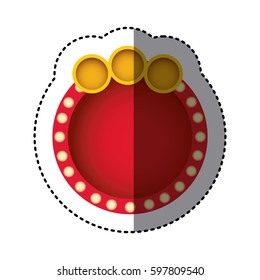 sticker of red circular speech and yellow circles on top side vector illustration