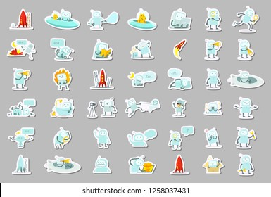 Sticker robots big set character. Search, ufo and others. Collection illustration.