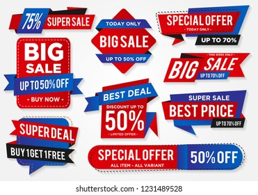 sticker sale set with abstract shape style and modern brand with modern concept, price tag discount, buy 1 get 1 free, special offer, big sale, super sale, hot sale tag design vector eps 10