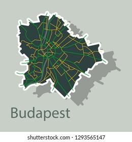 Sticker scheme of the Budapest, Hungary. City Plan of Budapest. Vector illustration