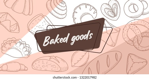 Sticker set of bread products: bread, pie, bread, cheesecake, envelope, pretzel, pudding, a roll, an envelope, a piece of bread, cheesecake, sausage roll. Vector