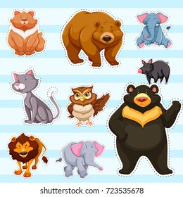 Sticker set for cute animals on blue background illustration