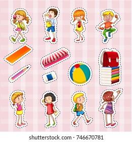 Sticker set of kids and school objects illustration
