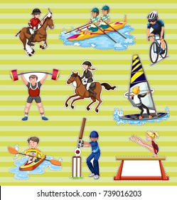 Sticker set with people playing different sports