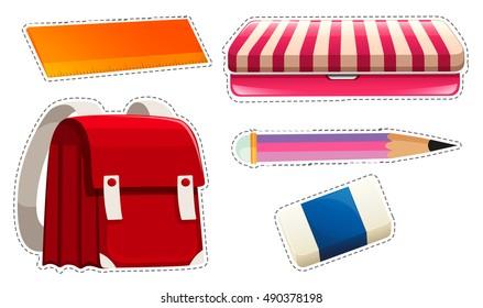 Sticker set with school materials illustration