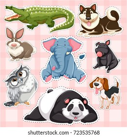 Sticker set for wild animals on pink background illustration