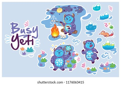 Sticker set of Yetis in cartoon style. Yeti roasts marshmallows on the campfire, a Yeti holding a sign, Bigfoot runs away from the Fox.
