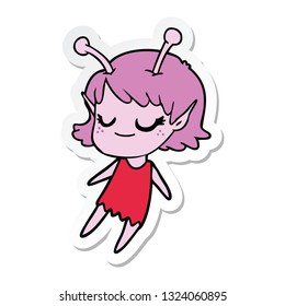 sticker of a smiling alien girl cartoon floating