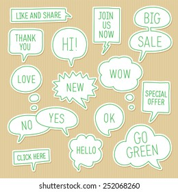Sticker speech bubbles / callouts set with different messages on kraft paper background. Vector illustration