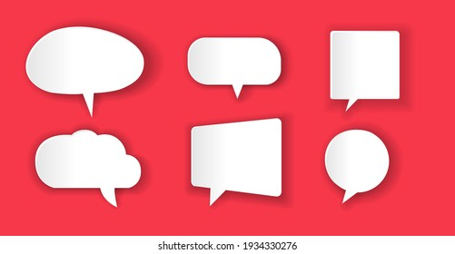 Sticker speech bubbles with shadow in the style of paper cut. Vector illustration.