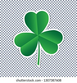 Sticker St. Patrick's Day. 3 leaf clover. Paper art vector illustration isolated on the checked background. Template, banner, flyer, cover, greeting card. EPS10.