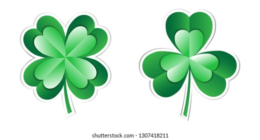 Sticker St. Patrick's Day. Three and four leaf clover. Paper art vector illustration isolated on the white background. Template, banner, flyer, cover, greeting card. EPS10.