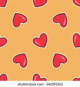 Sticker Style Cartoon Heart Vector Seamless Pattern