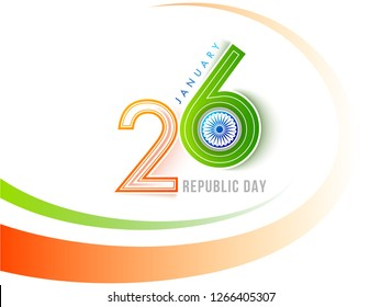 Sticker style text 26 January with Ashoka Wheel for Indian Republic Day celebration poster design.