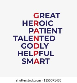 Sticker or t shirt print for Happy Grandparents' Day. Anagram for word grandpa - great, heroic, patient, talented, godly, helpful, smart.