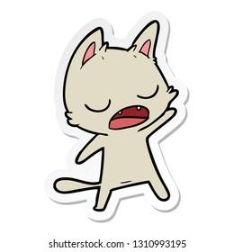 sticker of a talking cat cartoon