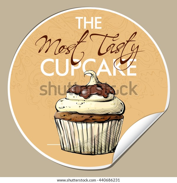 Sticker with tasty cupcake (sketch style). Vector illustration.
