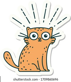 sticker of a tattoo style surprised cat