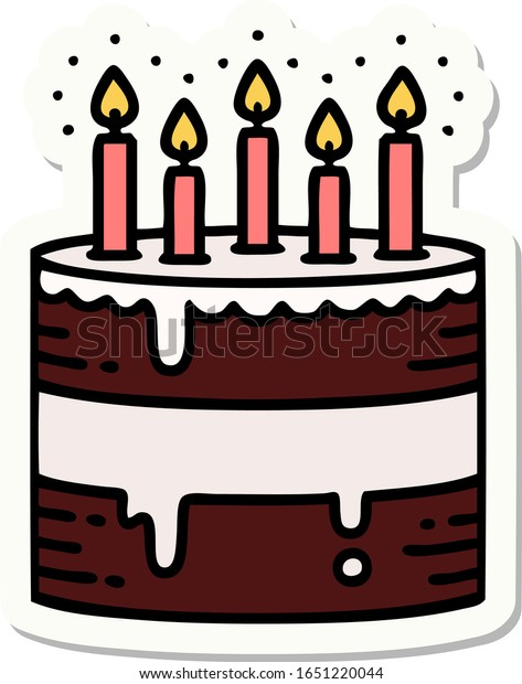 Pleasant Sticker Tattoo Traditional Style Birthday Cake Stock Vector Birthday Cards Printable Riciscafe Filternl