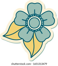 sticker of tattoo in traditional style of a flower