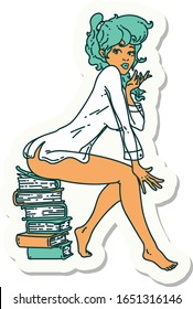 sticker of tattoo in traditional style of a pinup girl sitting on books