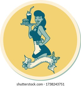 sticker of tattoo in traditional style of a pinup waitress girl with banner