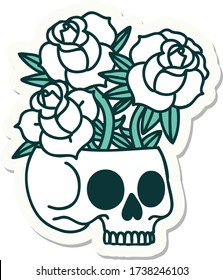 sticker of tattoo in traditional style of a skull and roses