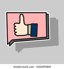 Sticker Thumbs up like social network icon new appreciation number symbol. Idea - blogging and online messaging, social networking services.