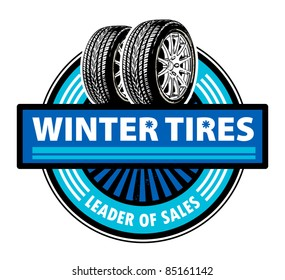 Sticker with the tires and word Winter Tires written inside, vector illustration