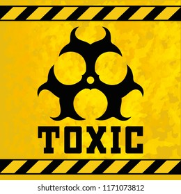 Sticker - toxic waste. Design element for  game. Sign for marking especially dangerous chemical compounds. Toxic background texture. Toxic logo, poster element. Isolated vector illustration